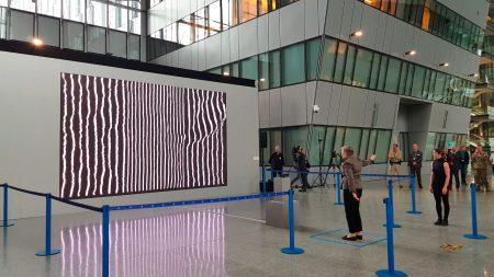 Deputy Secretary-General, Rose Gottemoeller, inaugurating media art exhibition by João Martinho Moura. NATO Headquarters, 2019
